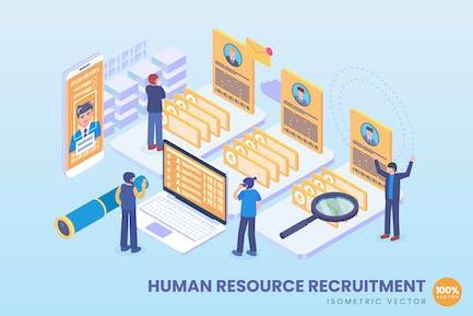 Concepto de contratación de recursos humanos isométricos