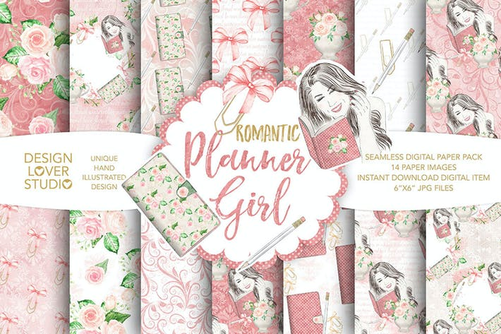 Thumbnail for Watercolor Planner Girl digital paper pack