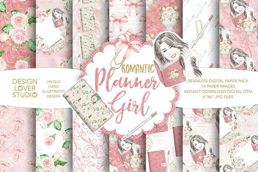 Watercolor Planner Girl digital paper pack