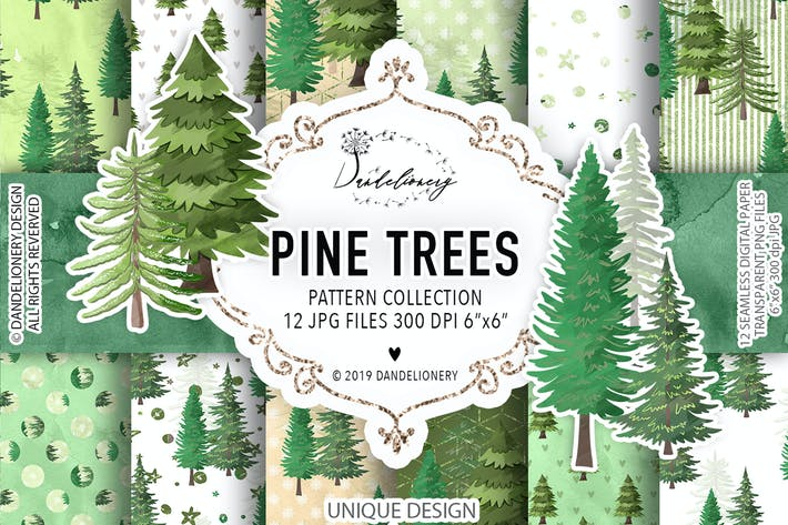 Thumbnail for Pine trees digital paper pack