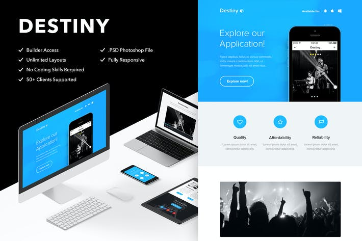Cover Image For Destiny - Responsive Email + Themebuilder Access