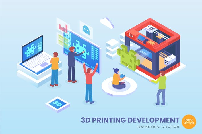 Thumbnail for Isometric 3D Printing Development Vector Concept