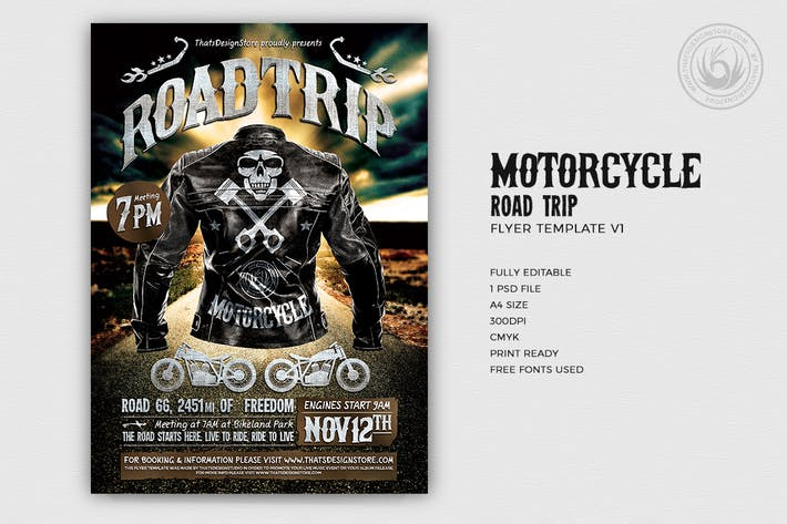 Thumbnail for Motorcycle Road Trip Flyer Template