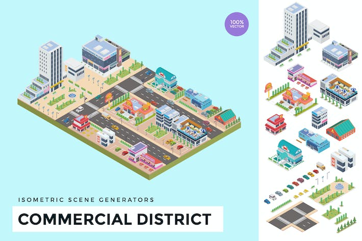 Cover Image For Isometric Commercial District Vector Scene Creator