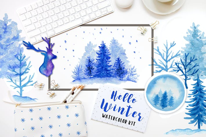 Thumbnail for Winter Aquarell Design Kit