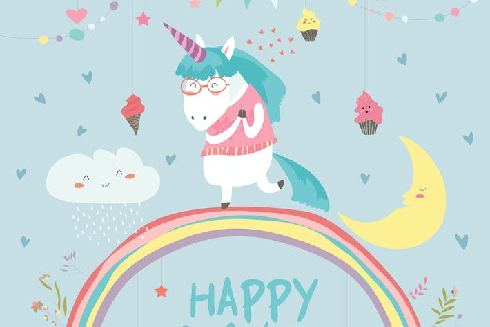Thumbnail for Cute unicorn walking on the rainbow. Vector