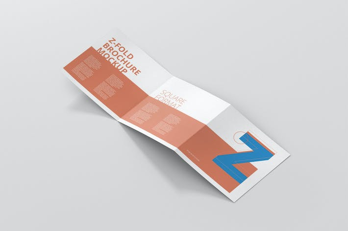 Thumbnail for Square Z-Fold Brochure Mockup