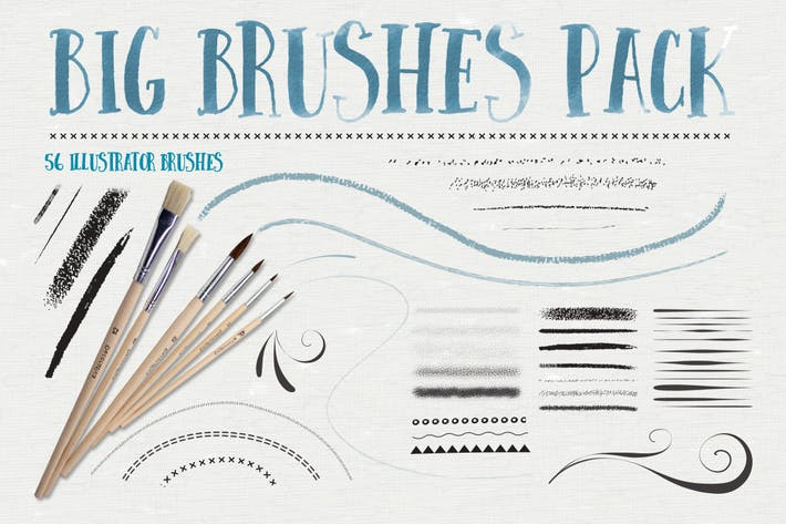 Cover Image For Big Illustrator Brushes Pack