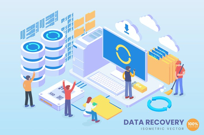Thumbnail for Isometric Data Recovery Vector Concept