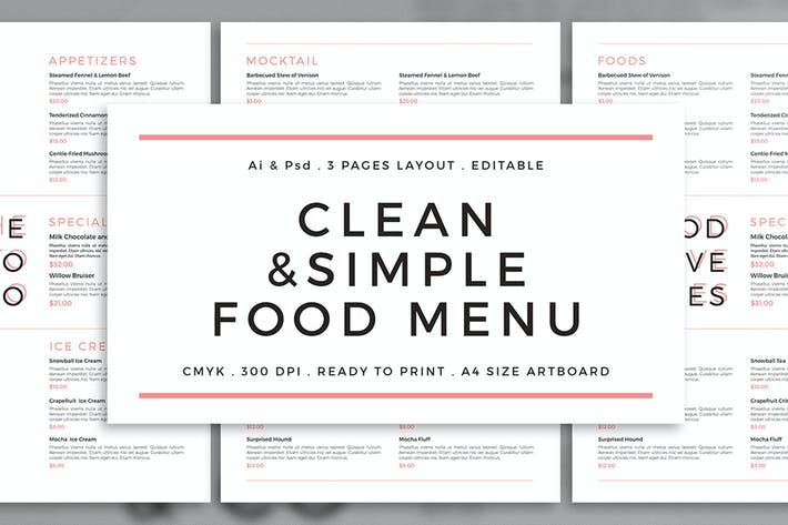 Cover Image For Clean & Simple Menu