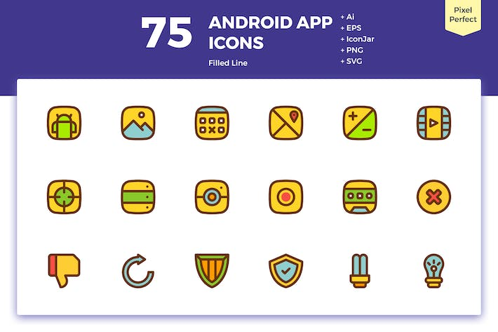 Cover Image For 75 Android App Icons (Filled Line)