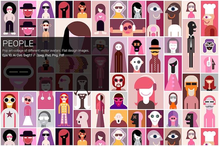 People (large set of flat design vector avatars)
