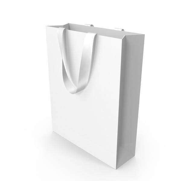 White Bag with White Ribbon Handles