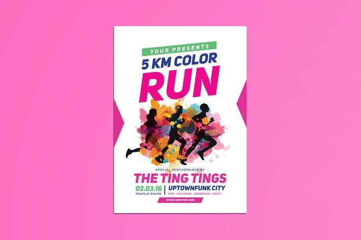 color run festival flyer by guuver on envato elements