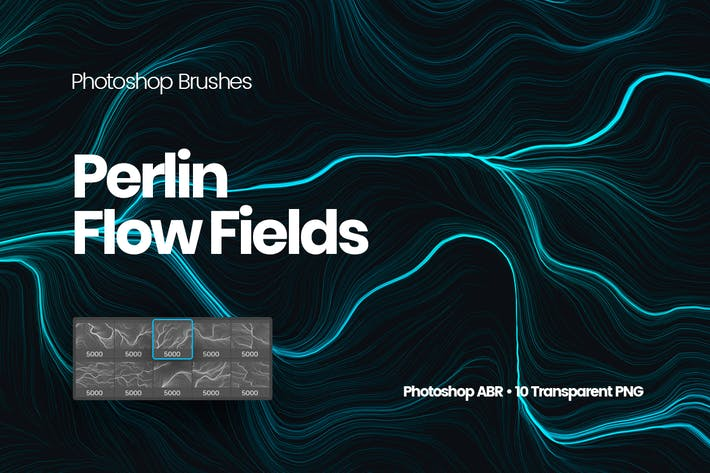 Cover Image For Digital Perlin Flow Fields Photoshop Brushes