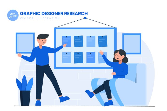 Thumbnail for Graphic Designer Research Flat Vector Illustration