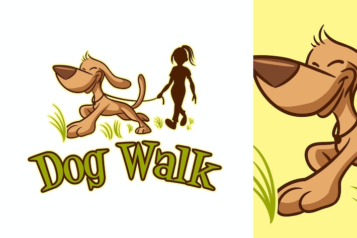 Thumbnail for Cartoon Dog Walking Logo