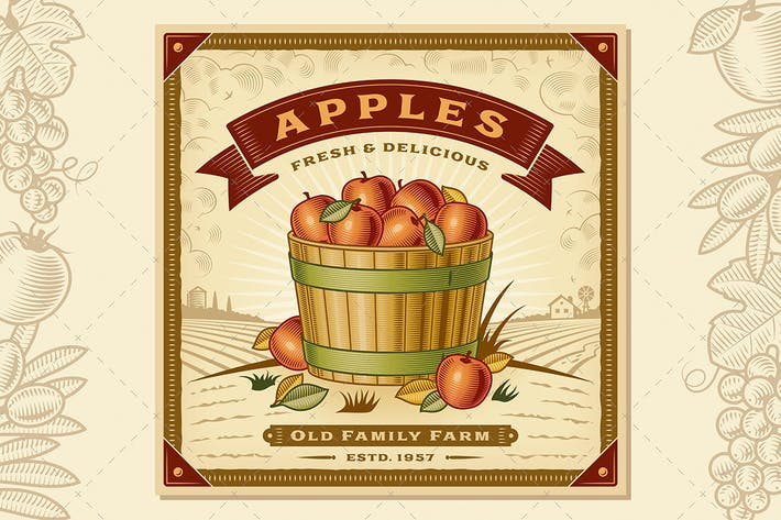 Thumbnail for Retro Apple Harvest Label With Landscape