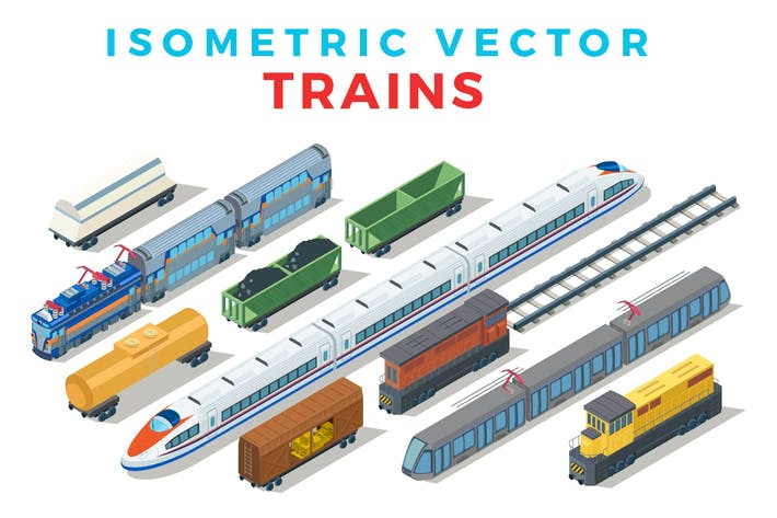 Cover Image For Vector Trains Isometric Flat