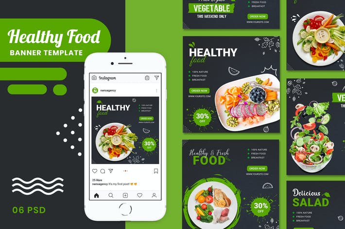 Thumbnail for Healthy Food Banner Template