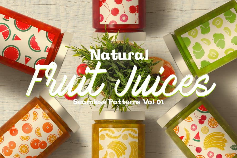 Natural Fruit Juices Seamless Patterns Vol1