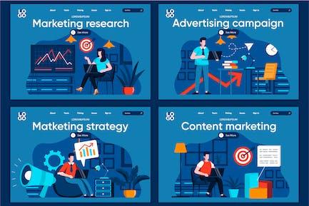 Modèle de page de destination Marketing Flat Concept