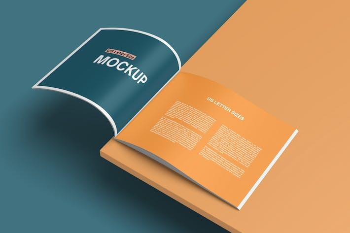 Thumbnail for Landscape US Letter Size Brochure/ Magazine Mockup