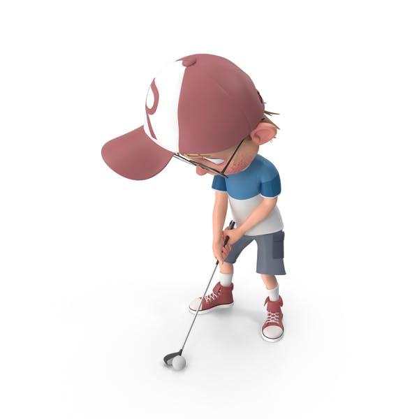 Cartoon Boy Harry Golfing