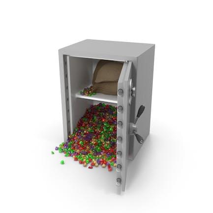 Caja fuerte grande con gemas mixtas