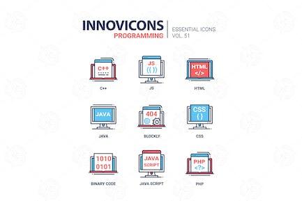 Programming - modern vector line icons set