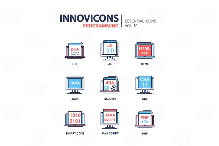 Programming - modern vector line icons set