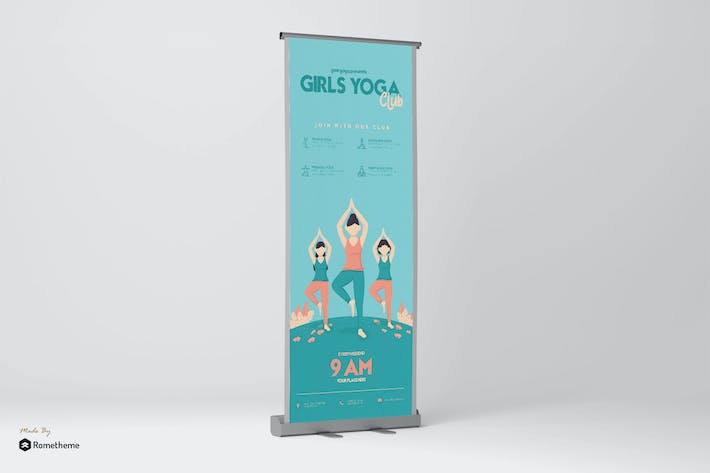 Thumbnail for Girls Yoga Club - Rollup Banner GR