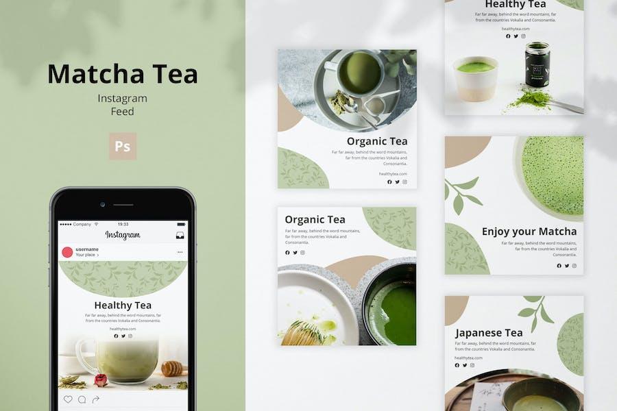 Matcha Tea Instagram Feed Template