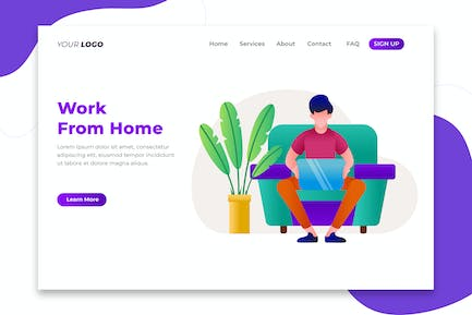 Work From Home Concept - Landing Page