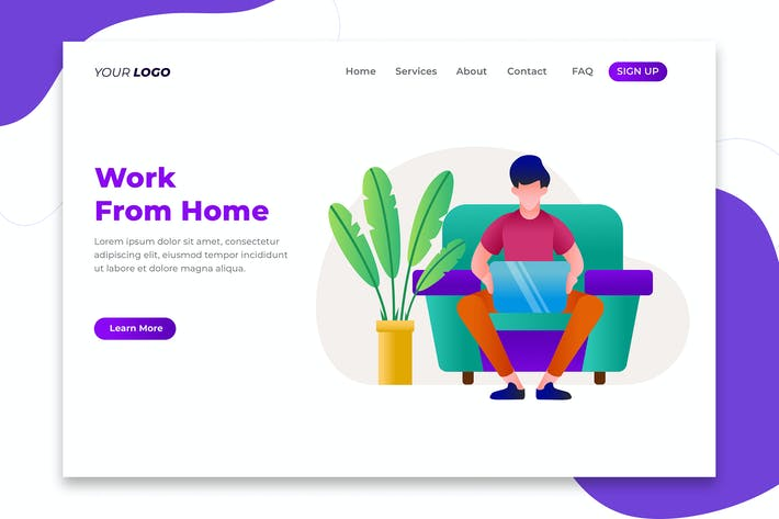 Thumbnail for Work From Home Concept - Landing Page