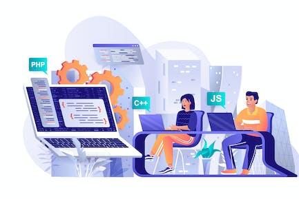 Programming Software Flat Web Illustration