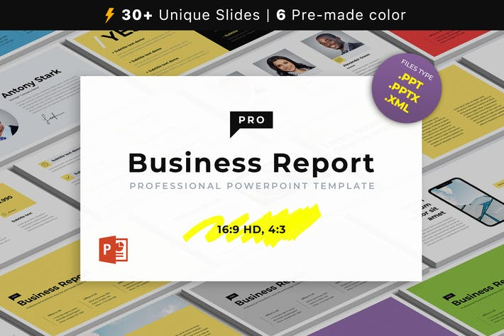 Thumbnail for Шаблон бизнес-отчета PRO PowerPoint