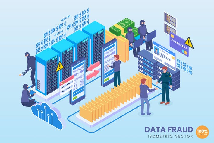 Thumbnail for Isometric Data Fraud Technology Vector Concept