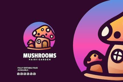 Mushrooms Gradient Line Art Logo