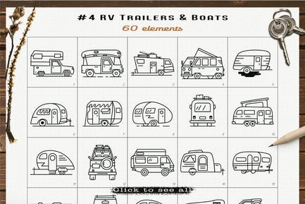RV Trailers Icons Set Line Art Graphics Symbols