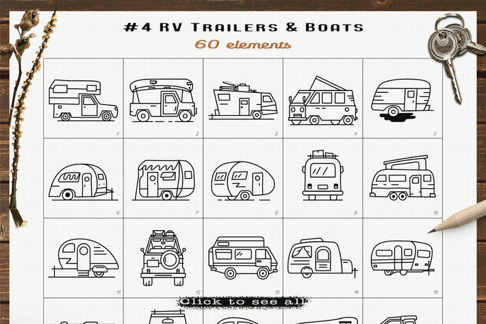 RV Trailers Icons Set Line Art Grafiken Symbole
