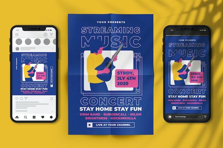 Thumbnail for Streaming-Musik Konzert Flyer Set