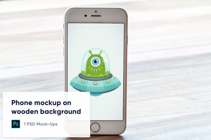 Phone on Wooden Background PSD Mockup - Front View
