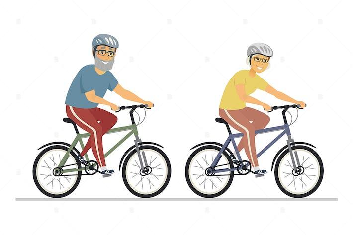 Senior people cycling - flat design illustration