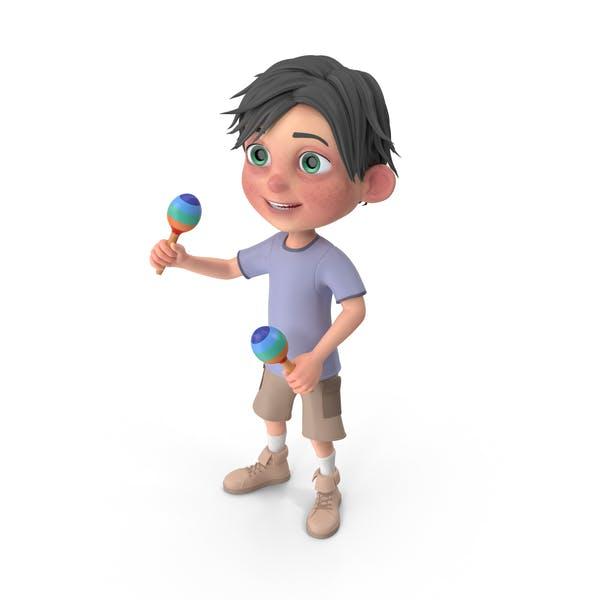 Cartoon Boy Jack Playing Maracas