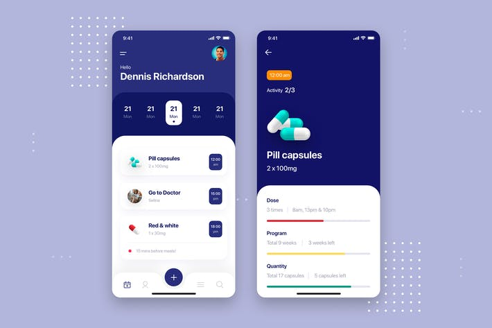 Thumbnail for Medicine Mobile App UI Kit Template