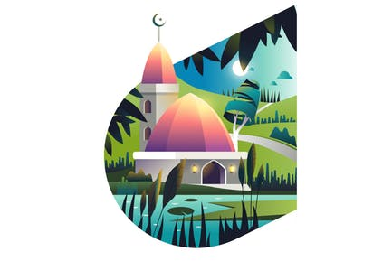 Islamic backround with mosque