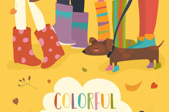 Thumbnail for Vector card - Hello Autumn. Funny illustration