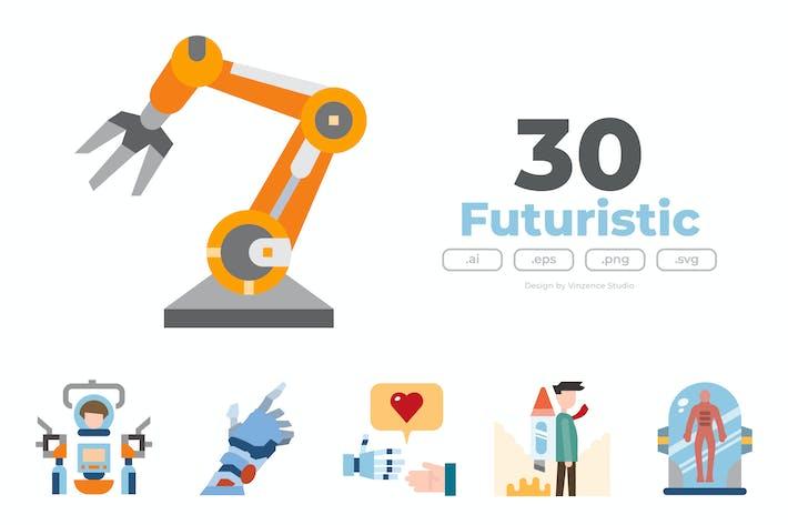 30 Futuristic Icons - FLAT