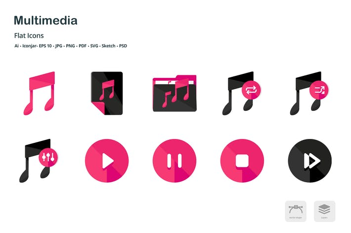 Thumbnail for Multimedia Controls Flat Colored Icons